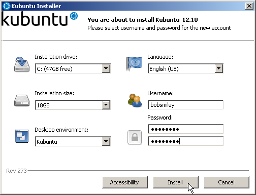 The installer screen with reasonable settings